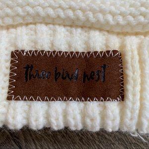 Women's ponytail beanie cream Three Bird Nest